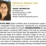 Patricia Sigman Named Lawyer of the Year in Orlando Magazine's Best Lawyers In America's 2016 for Employment Law Representing Individuals